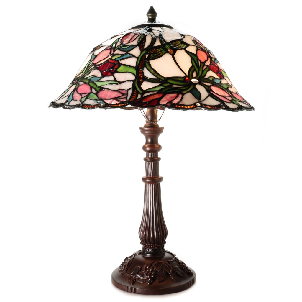 "435-893 - Tiffany-Style 21.75"" Jasmine Tulip Floral Stained Glass Table Lamp"