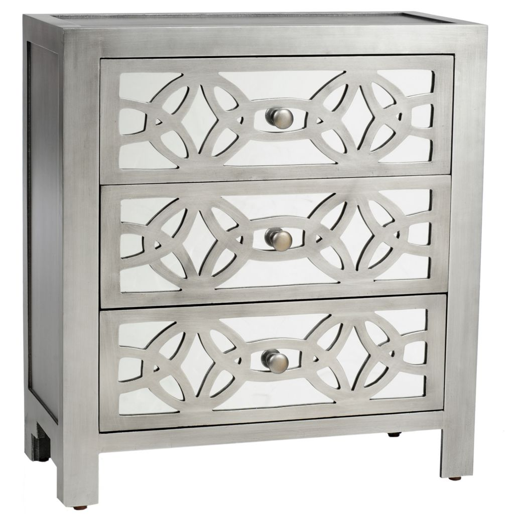 "435-896 - Style at Home with Margie 28"" Monroe Mirrored-Front Three-Drawer Chest"