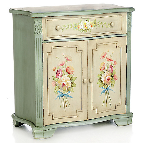 435-897 - Style at Home with Margie 29.5'' Hand-Painted English Meadow Floral Cabinet