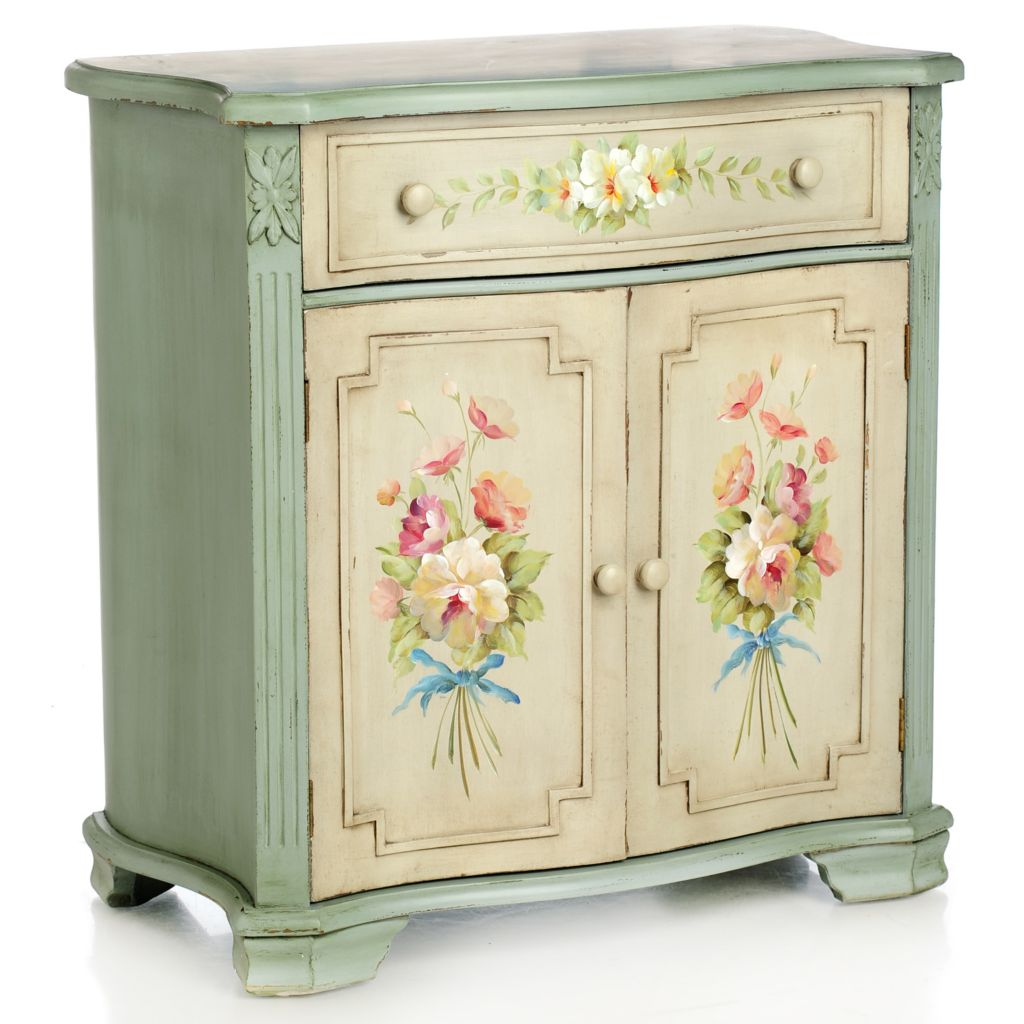 "435-897 - Style at Home with Margie 29.5"" Hand-Painted English Meadow Floral Cabinet"