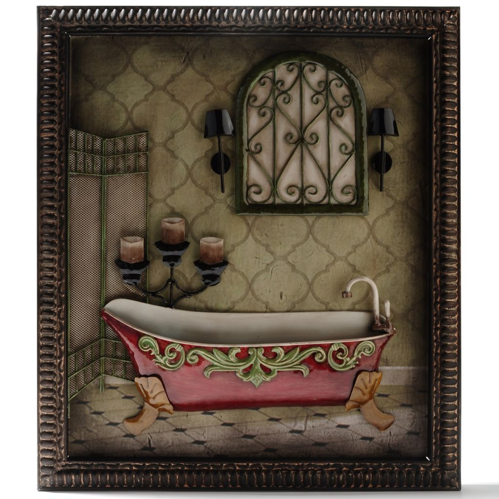 "435-899 - Style at Home with Margie 24.5"" Rub-A-Dub 3D French-Inspired Iron Wall Decor"