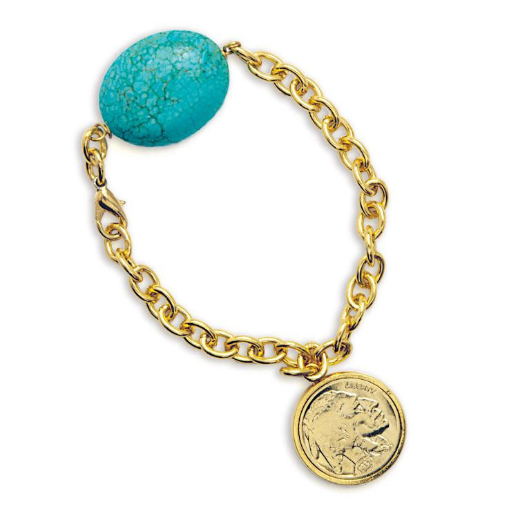 "435-981 - 8"" Gold-Layered Buffalo Nickel & Turquoise Stone Bracelet"