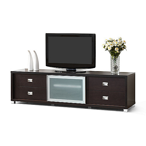 436-045 - Baxton Studio Botticelli Brown Modern TV Stand with Frosted Glass Door