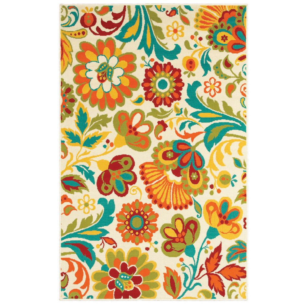 436-165 - Shaw Living™ Al Fresco Indoor/Outdoor Collection Floral Woven Rug