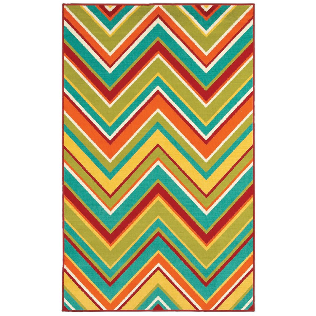 436-181 - Shaw Living™ Al Fresco Indoor/Outdoor Collection Zigzag  Woven Rug