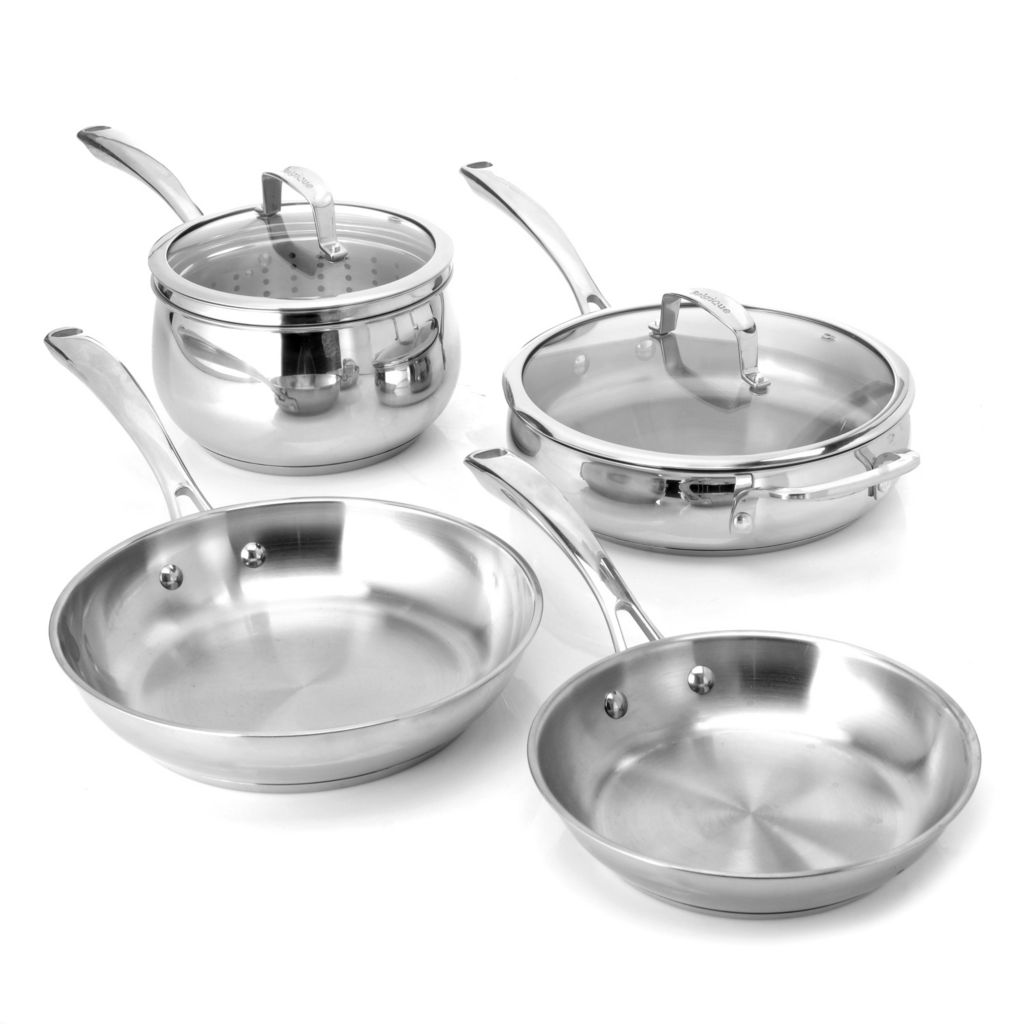 436-241 - Macy's Tools of the Trade® Belgique® Seven-Piece Stainless Steel Cookware Set