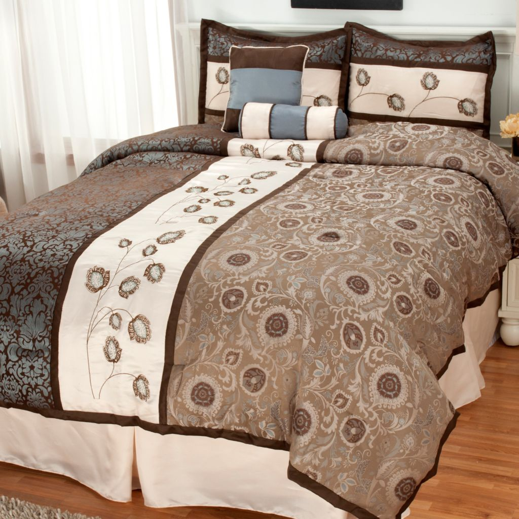 436-244 - North Shore Linens™ Floral Embroidered Six-Piece Bedding Ensemble