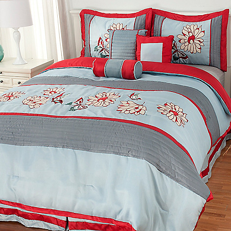 436-247 - North Shore Linens™ Floral Embroidery Seven-Piece Bedding Ensemble