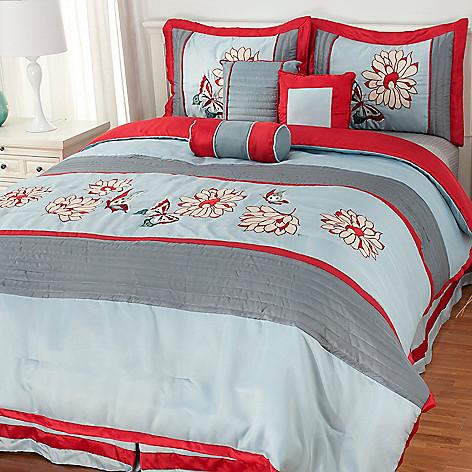436-247 - North Shore Linens™ Floral Embroidery Seven-Piece Bedding Ensemble