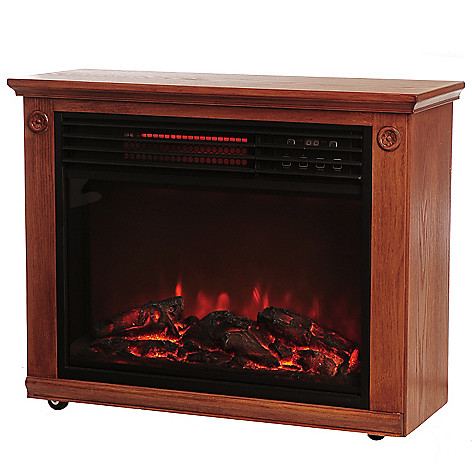 436-282 - LifeSmart 1500W Quartz Infrared Programmable Oak Wood Finish Fireplace Heater