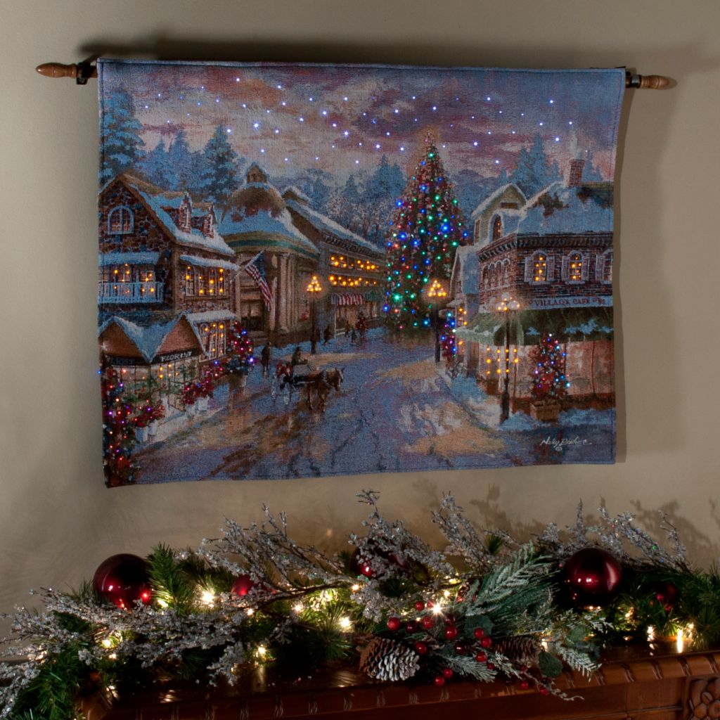 "436-292 - ""Christmas Eve"" by Nicky Boehme 26"" x 36"" Fiber Optic Tapestry w/ Rod"