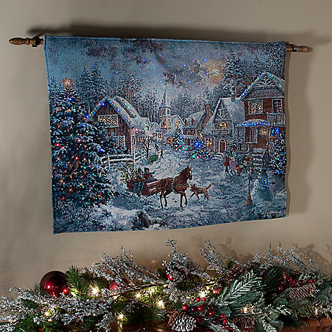 436-293 - ''Merry Christmas'' by Nicky Boehme 26'' x 36'' Fiber Optic Tapestry w/ Rod