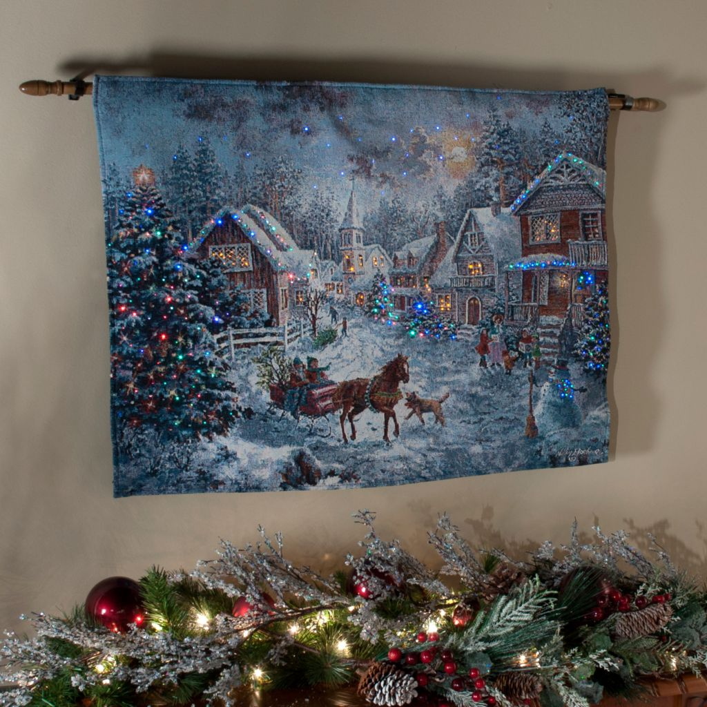 "436-293 - ""Merry Christmas"" by Nicky Boehme 26"" x 36"" Fiber Optic Tapestry w/ Rod"