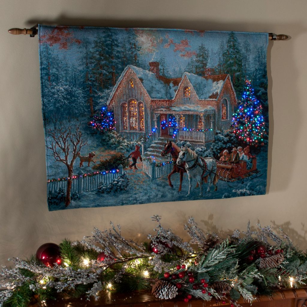 "436-294 - ""Welcome Home"" by Nicky Boehme 26"" x 36"" Fiber Optic Tapestry w/ Rod"