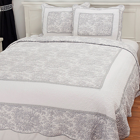 436-344 - North Shore Linens™ Cotton French Toile Three-Piece Quilt Set