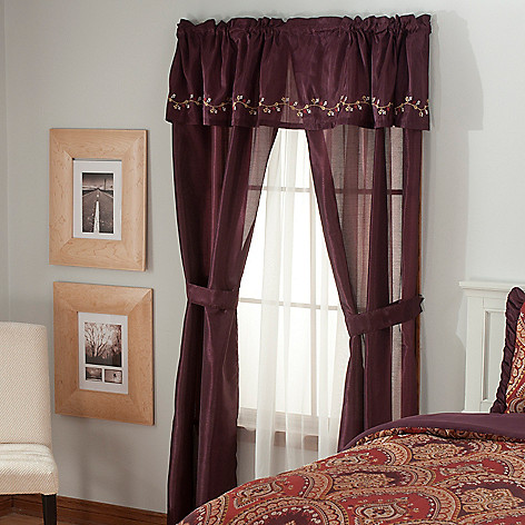 436-349 - North Shore Linens™ Embroidered Five-Piece Window Set