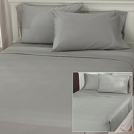 436-395 - North Shore Linens™ Set of Two 600TC Egyptian Cotton Four-Piece Wrinkle Ease™ Sheet Sets