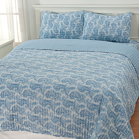 436-400 - North Shore Linens™ Paisley Three-Piece Reversible Coverlet Set