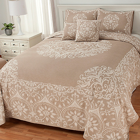 436-481 - North Shore Linens™ Medallion Woven Five-Piece Bedspread Ensemble