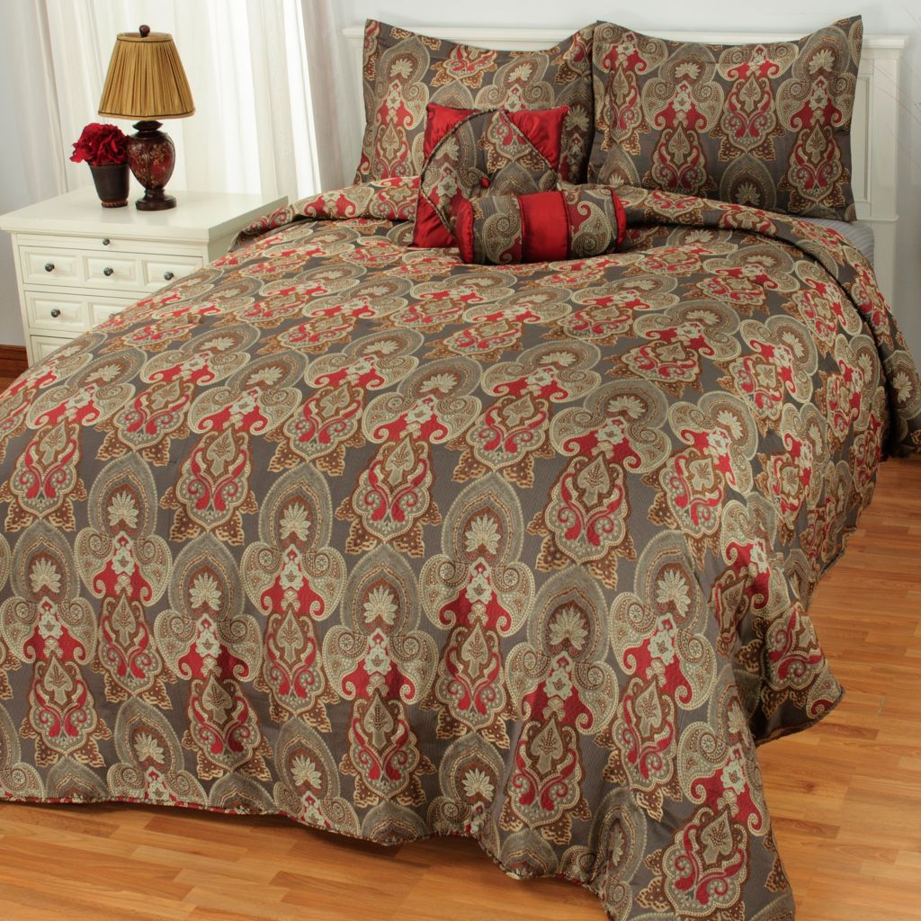 436-482 - North Shore Linens™ Paisley Medallion Five-Piece Bedding Ensemble