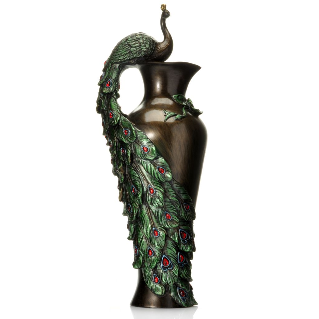 "436-504 - Style at Home with Margie 19"" Hand Painted Decorative Peacock Vase"