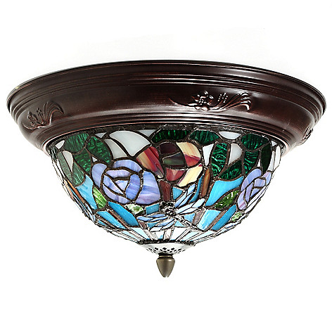 436-515 - Tiffany-Style Set of Two 7.5'' Striped Dragonfly Stained Glass Flush Mount Lamps