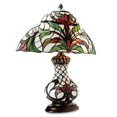 436-516 - Tiffany-Style 20.75'' Blooming Star Lily Double Lit Stained Glass Table Lamp