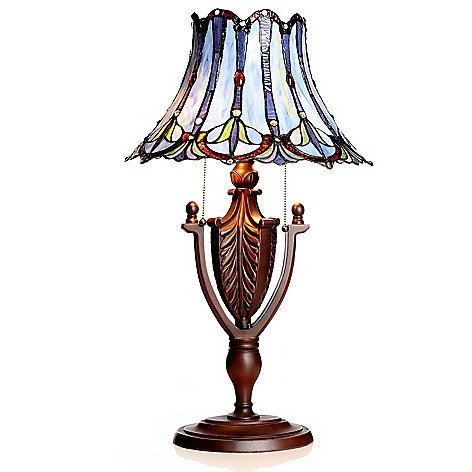 436-517 - Tiffany-Style 26.75'' Bamboo River Geometrical Stained Glass Table Lamp