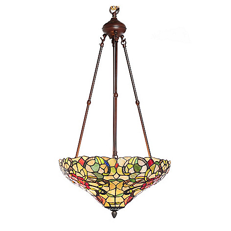 436-520 - Tiffany-Style 30.5'' Blooming Ribbons Inverted Stained Glass Hanging Lamp