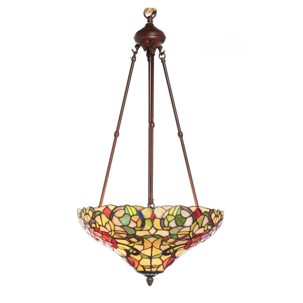 "436-520 - Tiffany-Style 30.5"" Blooming Ribbons Inverted Stained Glass Hanging Lamp"