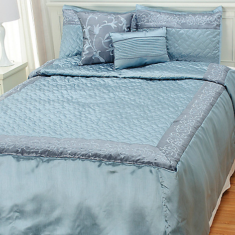 436-541 - North Shore Linens™ Five-Piece Metallic Leaf Embroidered Bedding Ensemble