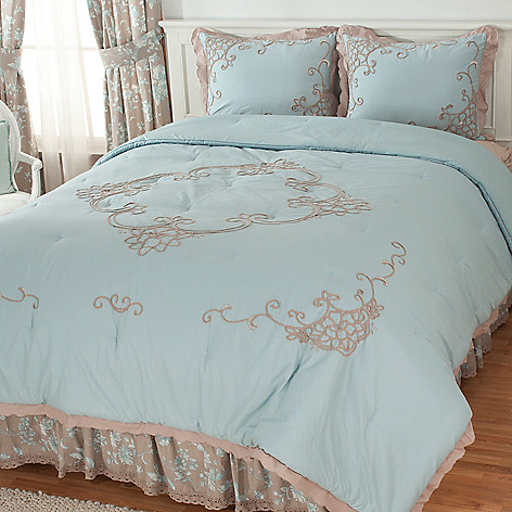436-542 - Lenox® Four-Piece Cotton Toile Embroidered Bedding Ensemble for Grand Suites®