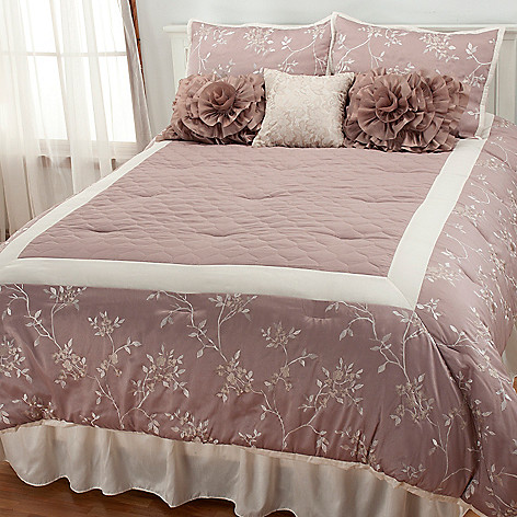 436-559 - North Shore Linens™ Floral Embroidery Seven-Piece Bedding Ensemble