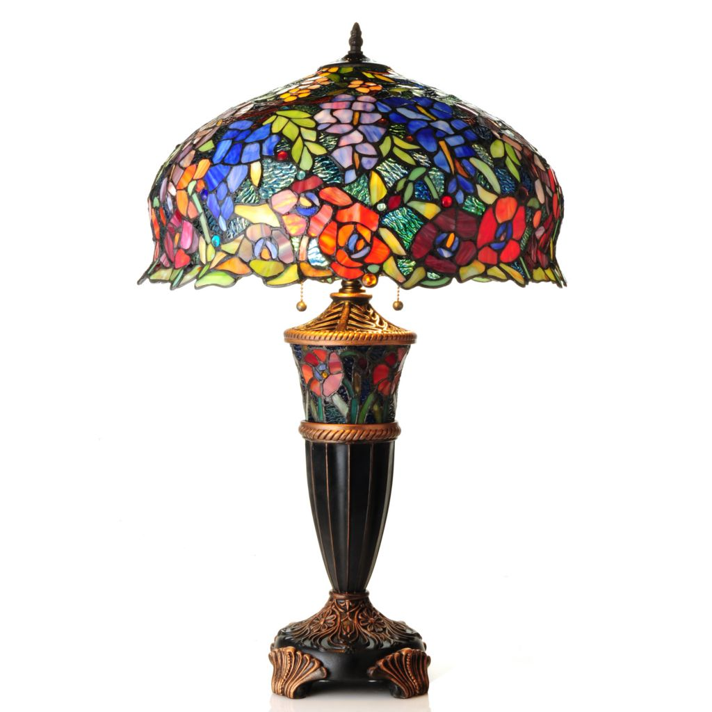 """436-563 - Tiffany-Style 28.5"""" Wisteria & Poppy Double Lit Stained Glass Table Lamp"""