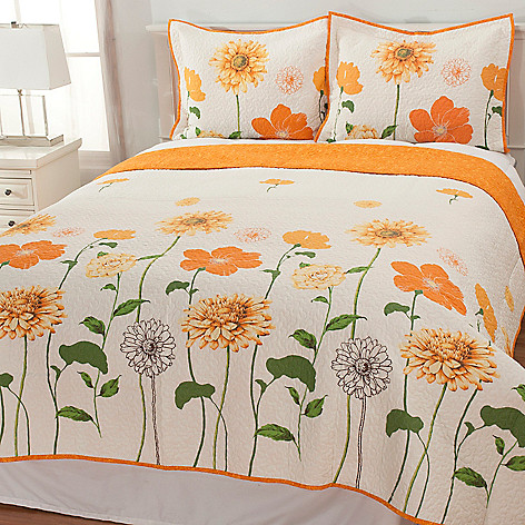 436-675 - North Shore Linens™ Sunshine Floral Cotton Three-Piece Quilt Set
