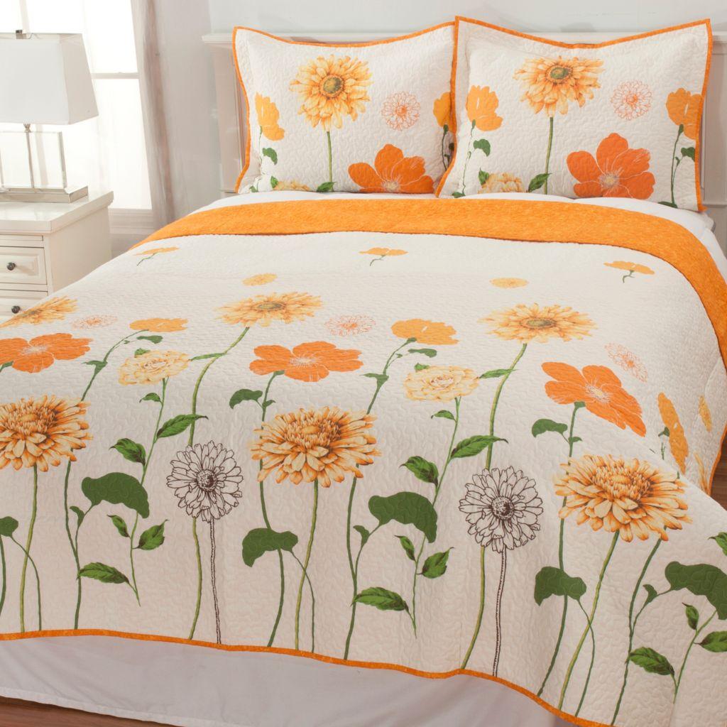 436-675 - North Shore Linens™ Sunshine Floral Cotton Three-Piece Quilt Set
