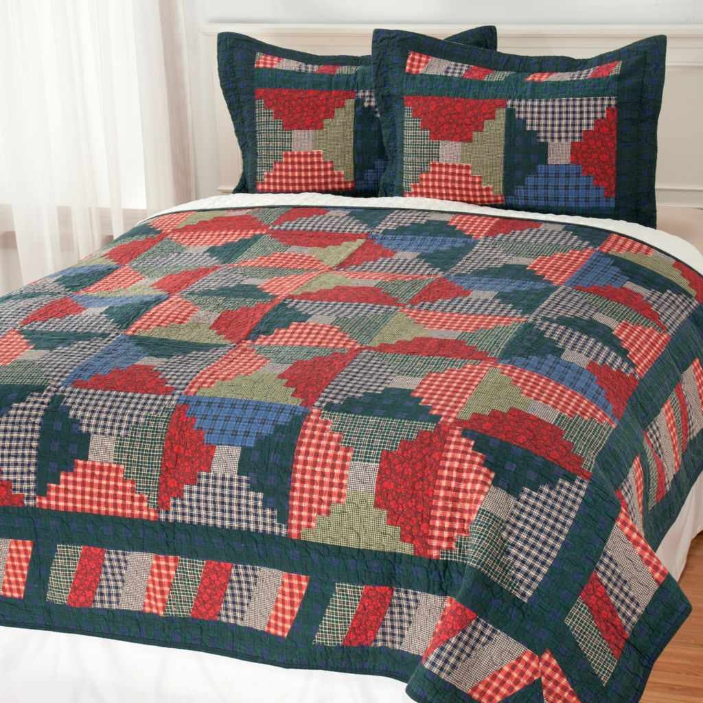 436-677 - North Shore Linens™ Cotton Plaid & Floral Three-Piece Quilt Set