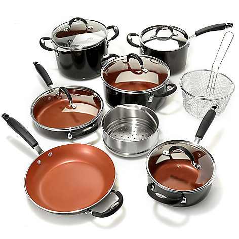 436-681 - Tramontina® Porcelain Enamel Colored Nonstick Aluminum 14-Piece Cookware Set