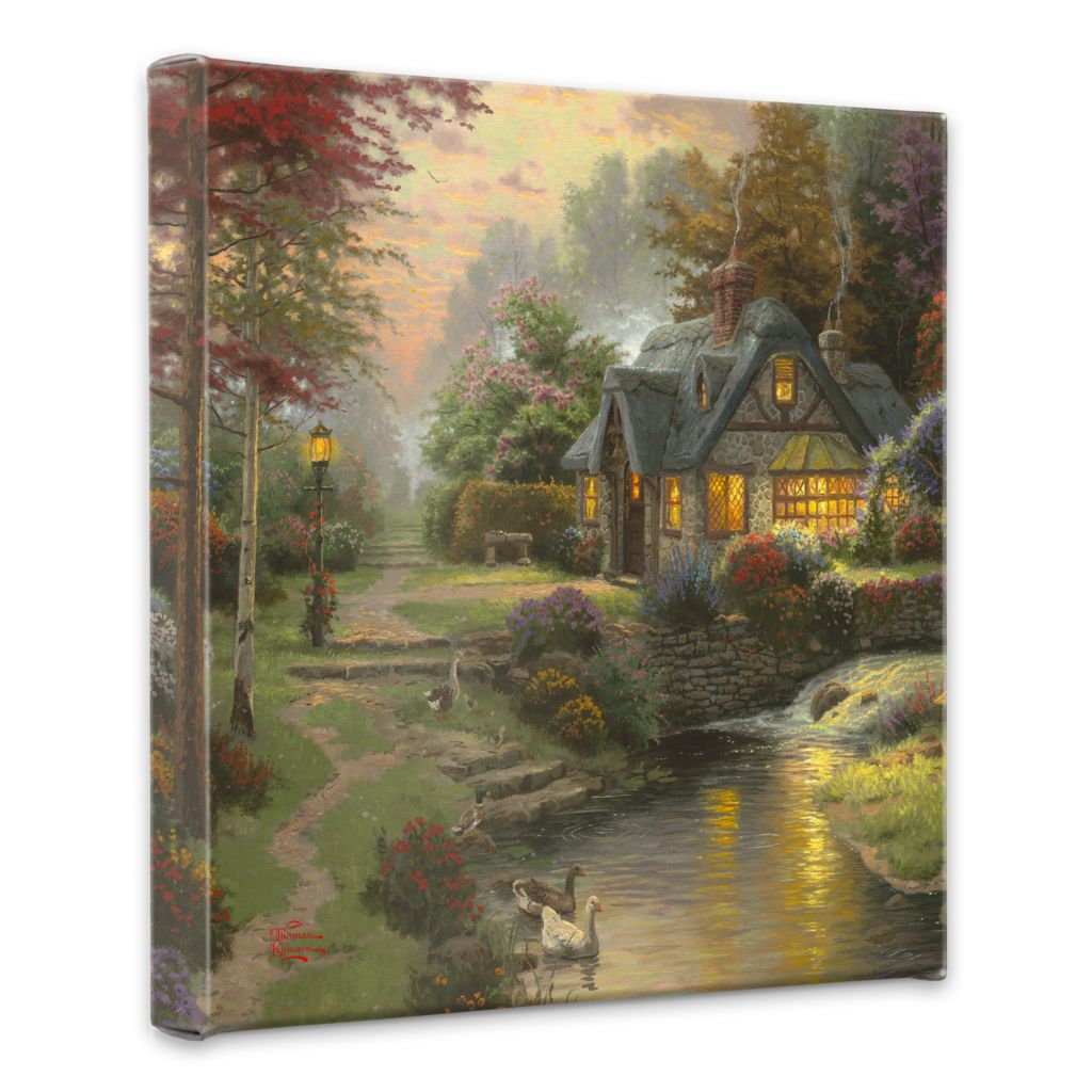 "436-694 - Thomas Kinkade ""Stillwater Cottage"" 14"" x 14"" Gallery Wrap"