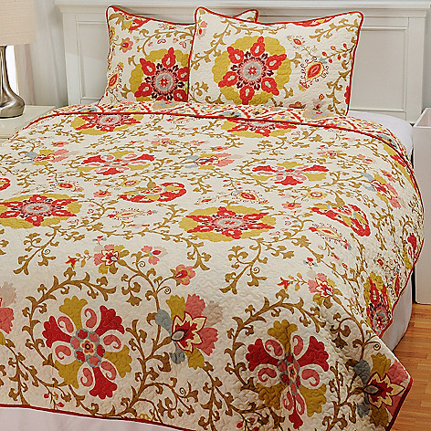 436-719 - North Shore Linens™ Three-Piece Abstract Floral Coverlet Set