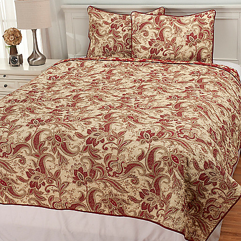 436-720 - North Shore Linens™ Three-Piece Floral Paisley Coverlet Set