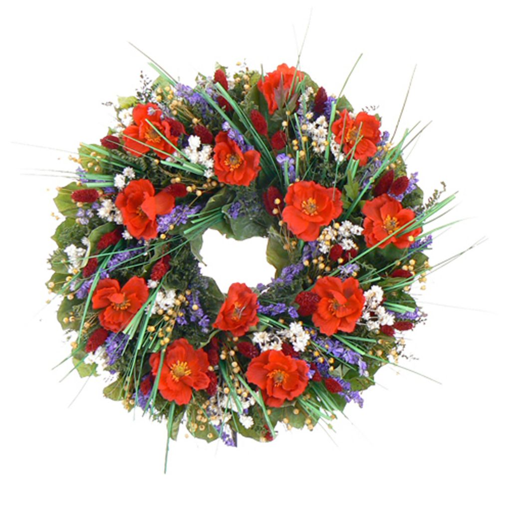 436-737 - Christmas Tree Company Brilliant Poppies Dried Floral Wreath