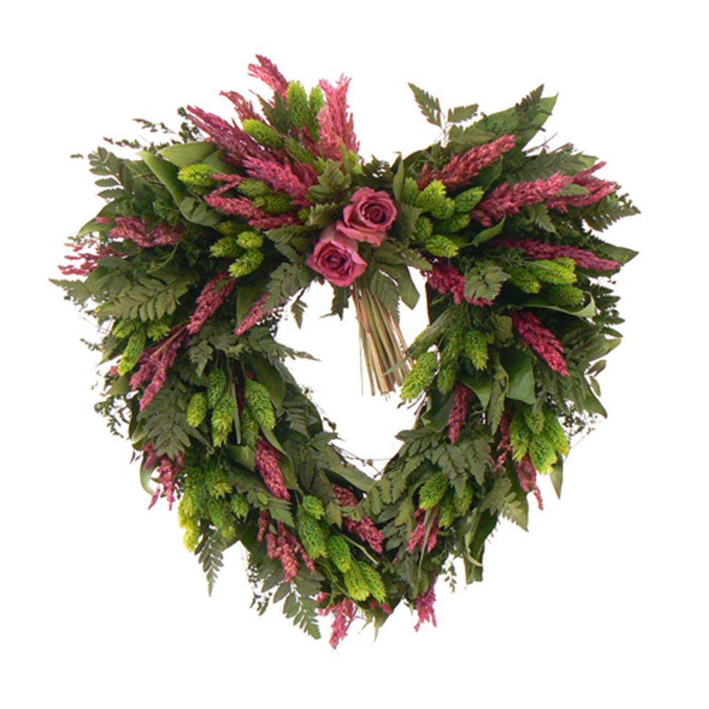 "436-747 - Christmas Tree Company Love Eternal 17"" Dried Floral Heart Wreath"