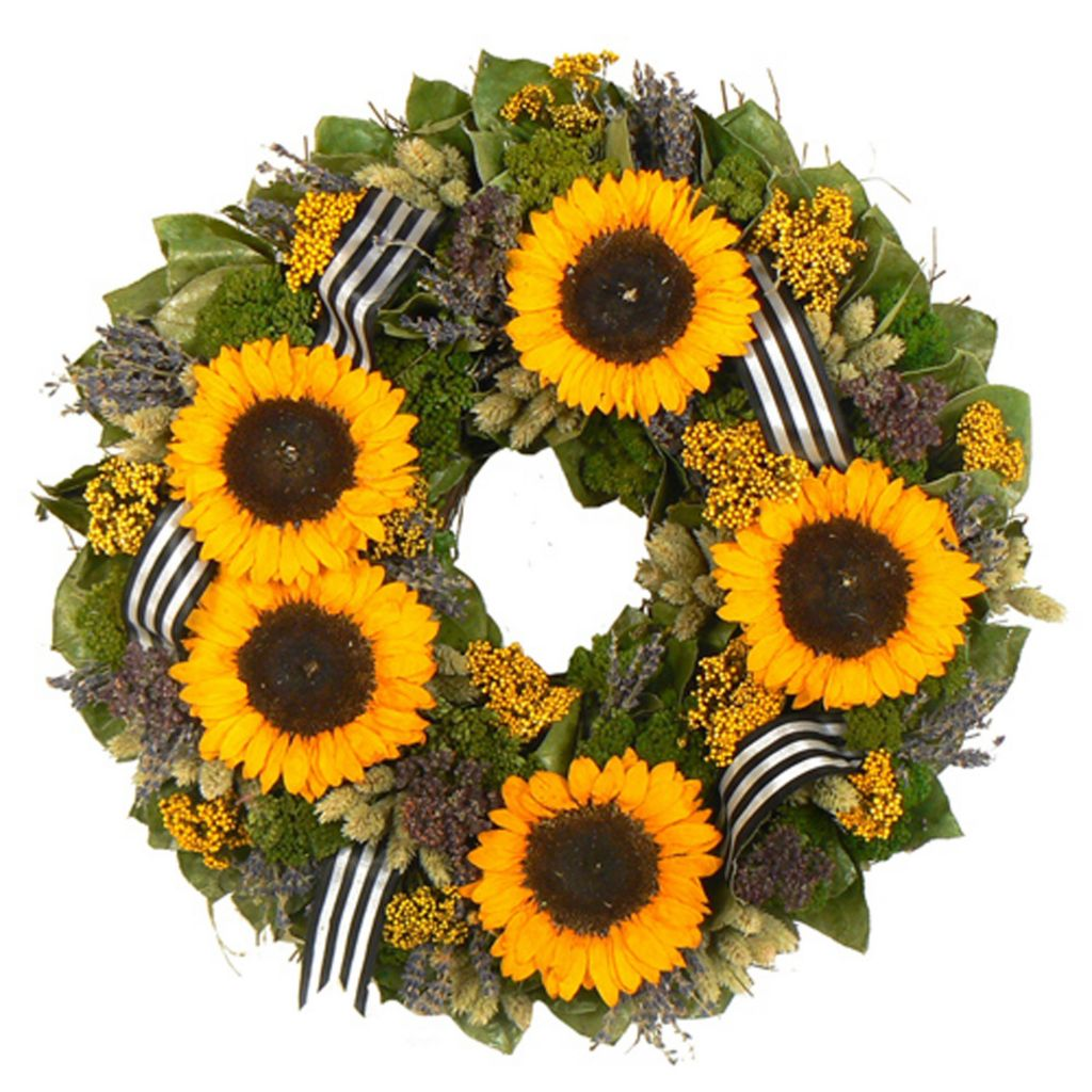 "436-754 - Christmas Tree Company Sunflower Bouquet 18"" Dried Floral Wreath"