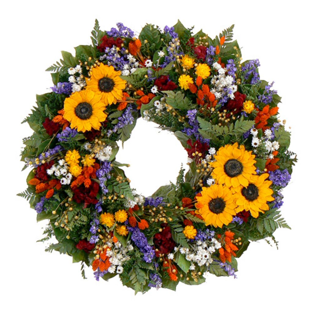 "436-755 - Christmas Tree Company Swanky Sunflower 22"" Dried Floral Wreath"