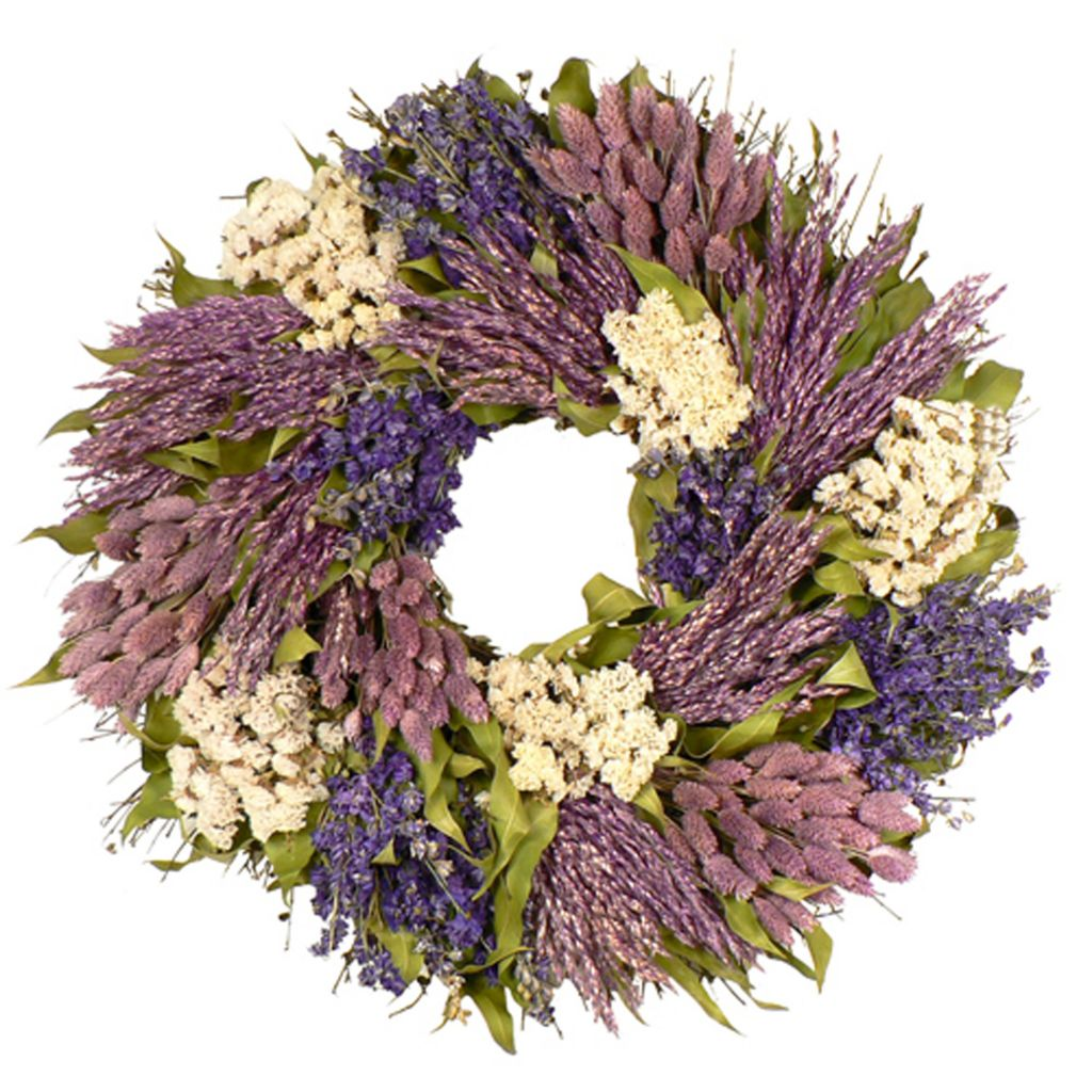"436-756 - Christmas Tree Company Variations in Violet 22"" Dried Floral Wreath"