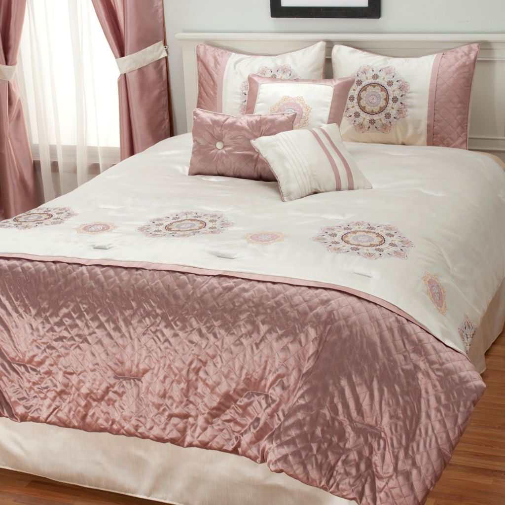 436-879 - North Shore Linens™ Seven-Piece Medallion Embroidered Bedding Ensemble