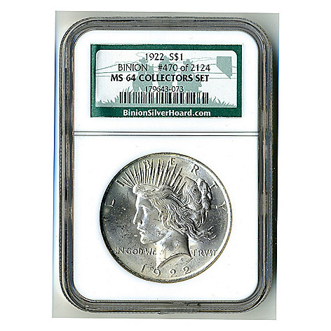 436-882 - 1922 & 1923 Binion Collection MS64 NGC (P) Peace Dollar Coin w/ Display Box