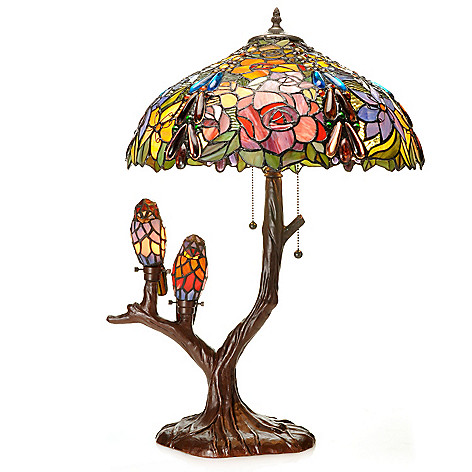 436-883 - Tiffany-Style 26'' Floral & Bird Stained Glass Table Lamp