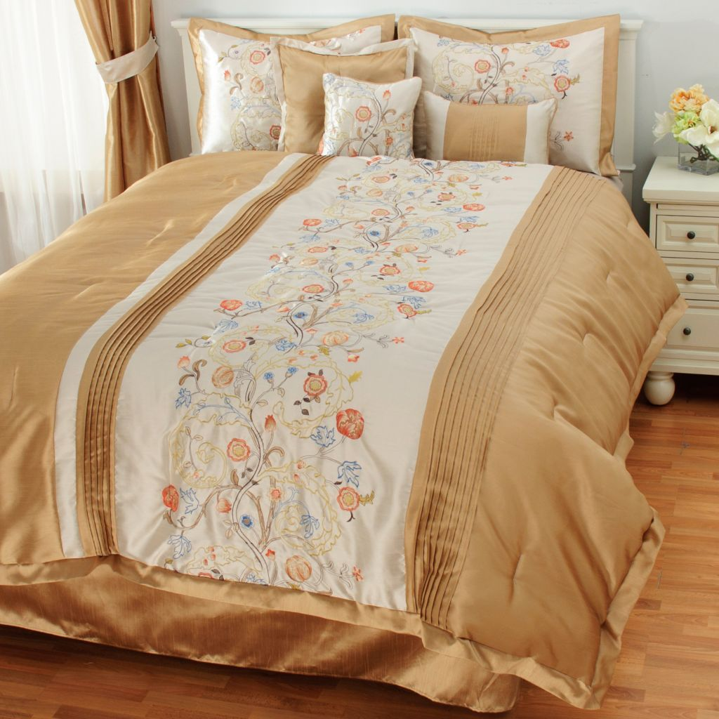 436-905 - North Shore Linens™Seven-Piece Floral Embroidered Bedding Ensemble